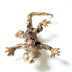 Handmade Gold Thread Fabric Wrap Chameleon Brooch